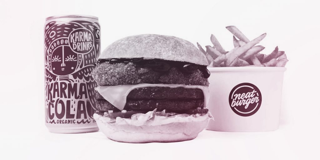 Neat Burger Smoke Stack Burger with fries and cola